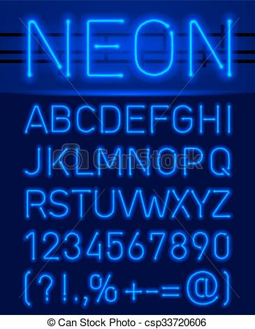 Vector Clipart of Neon font and symbols.