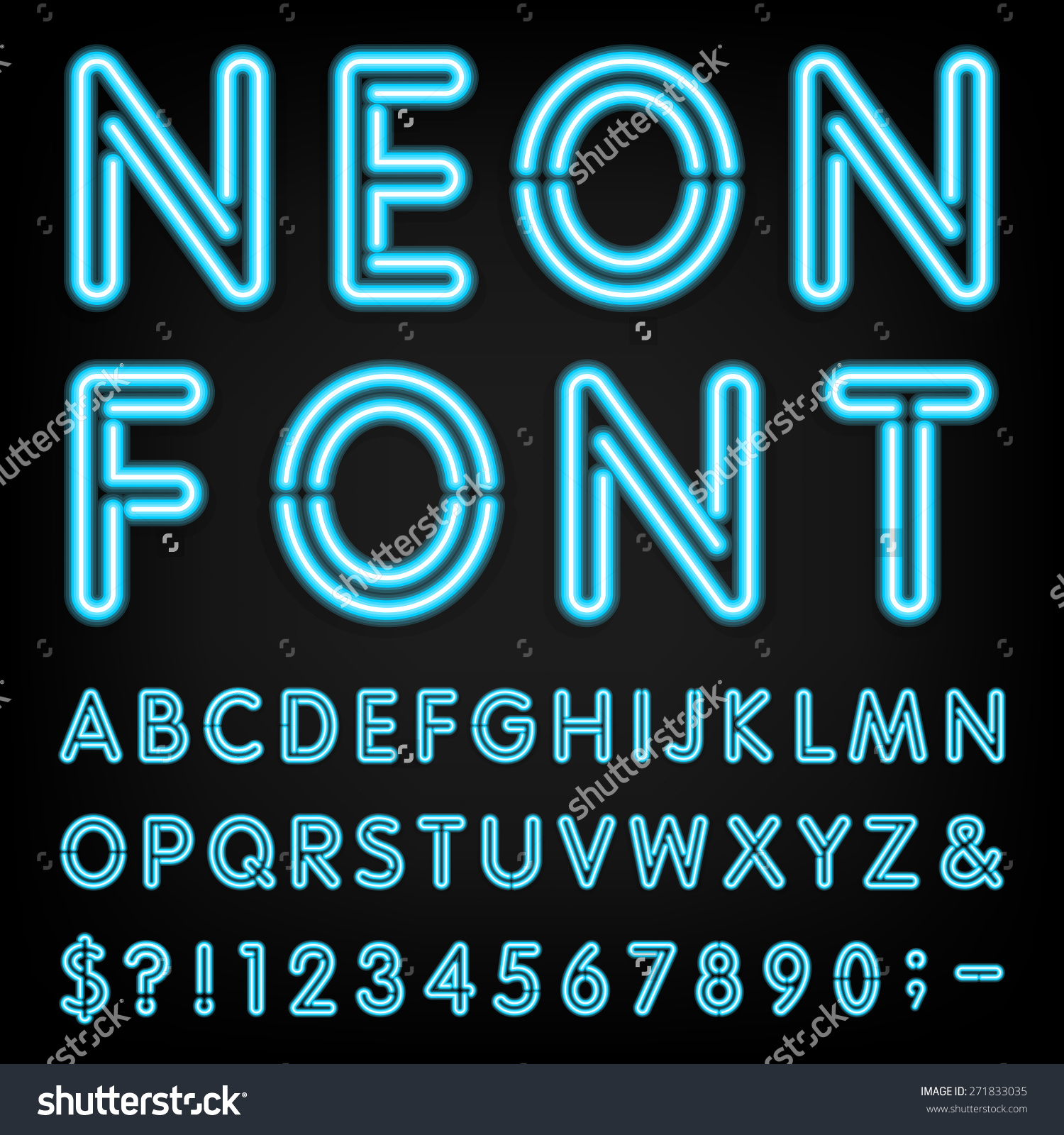 Neon Light Alphabet Vector Font type Letters Stock Vector.