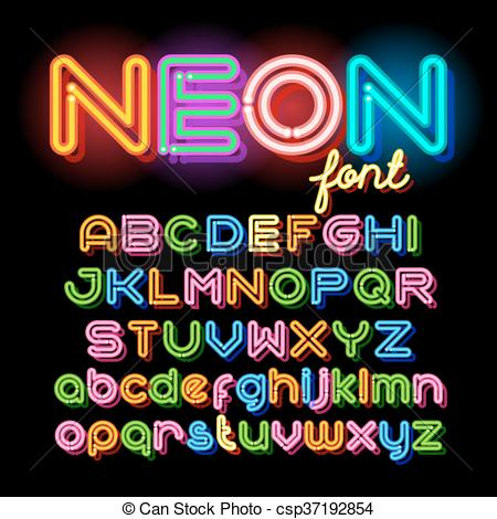 Clipart Vector of Round Neon Font.
