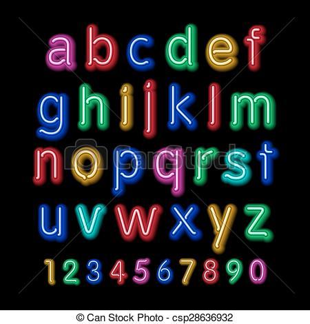 Vectors of Neon glow alphabet. Vector design party retro 3d art.
