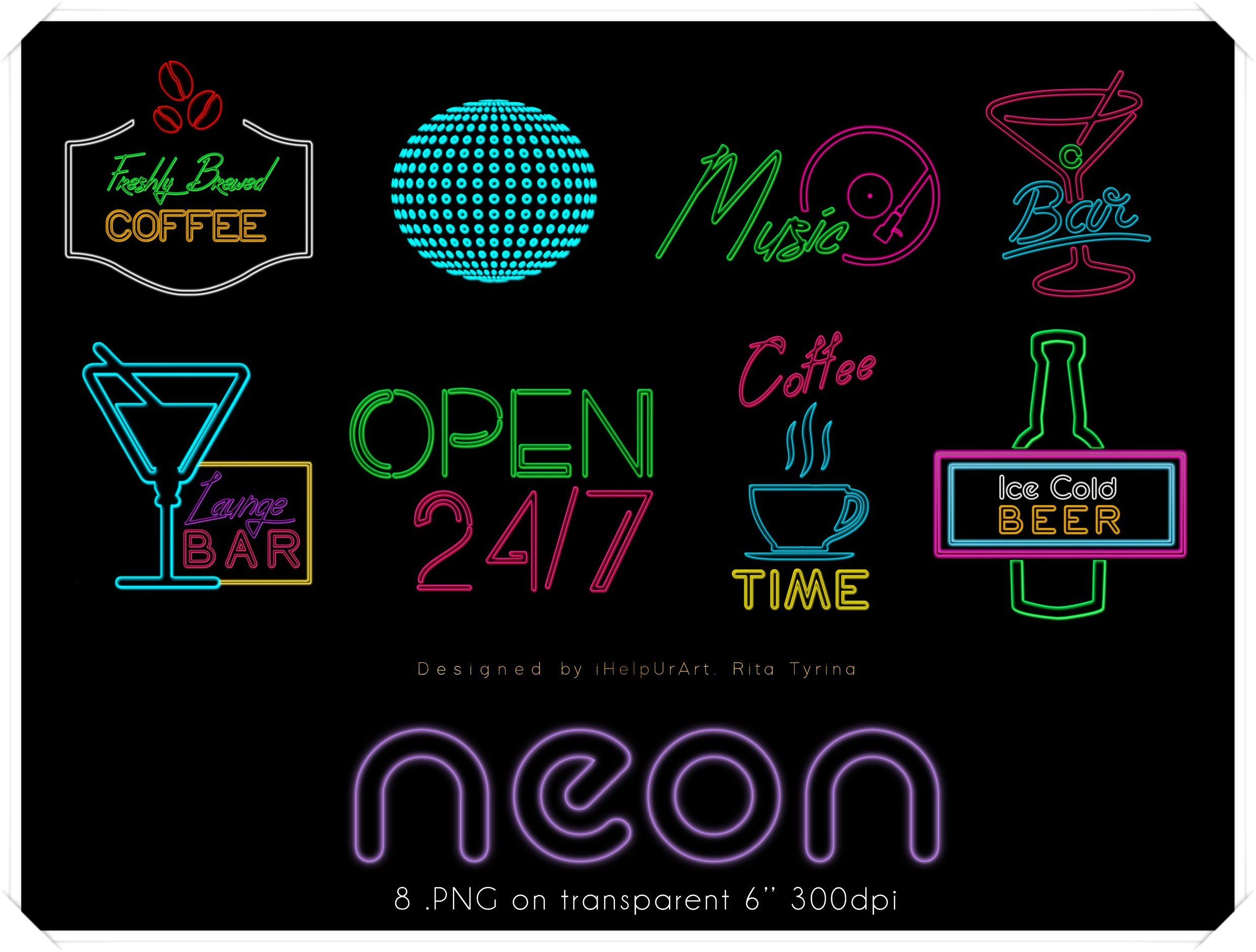 Neon Signs Clipart.