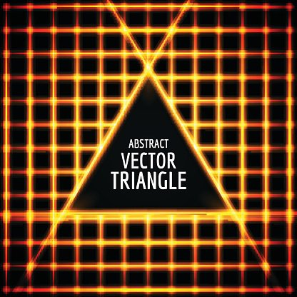 Neon triangle vector. Abstract shape for text. glow effect.