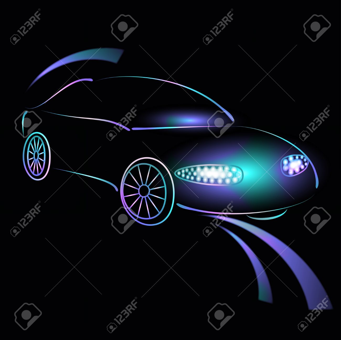 Background From A Car Silhouette In Neon Light, Light Of.
