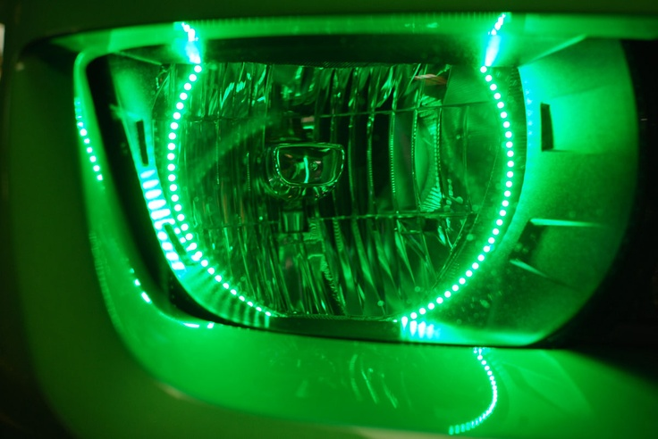 Chevy Camaro Green LED Headlights with Angel Eyes by FlyRyde.