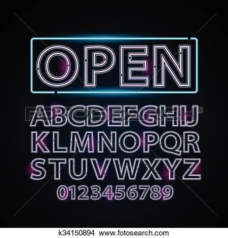 Clipart of Vector pink and blue neon lamp letters font show vegas.