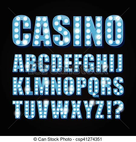 Clipart Vector of Vector blue neon lamp letters font show casino.