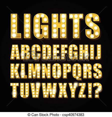 Vector of Vector yellow neon lamp letters font show casino or.