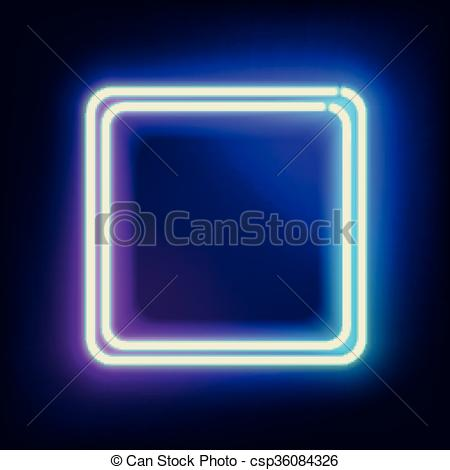 Vector Illustration of lowing electric square, neon lamp.