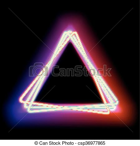 Clip Art Vector of lowing electric triangle, neon lamp.