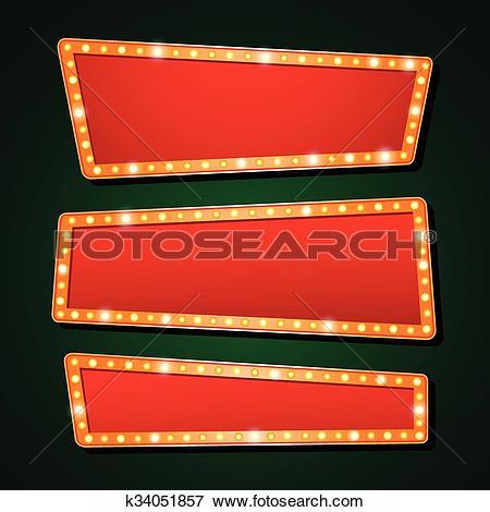 Clip Art of Vector orange neon lamp letters font show cinema or.