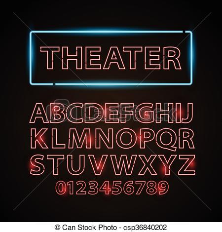 Vector Clipart of Vector red neon lamp letters font show cinema or.