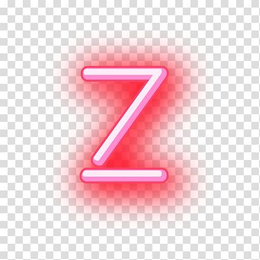 Z neon signage, Letter Neon Alphabet, neon transparent.