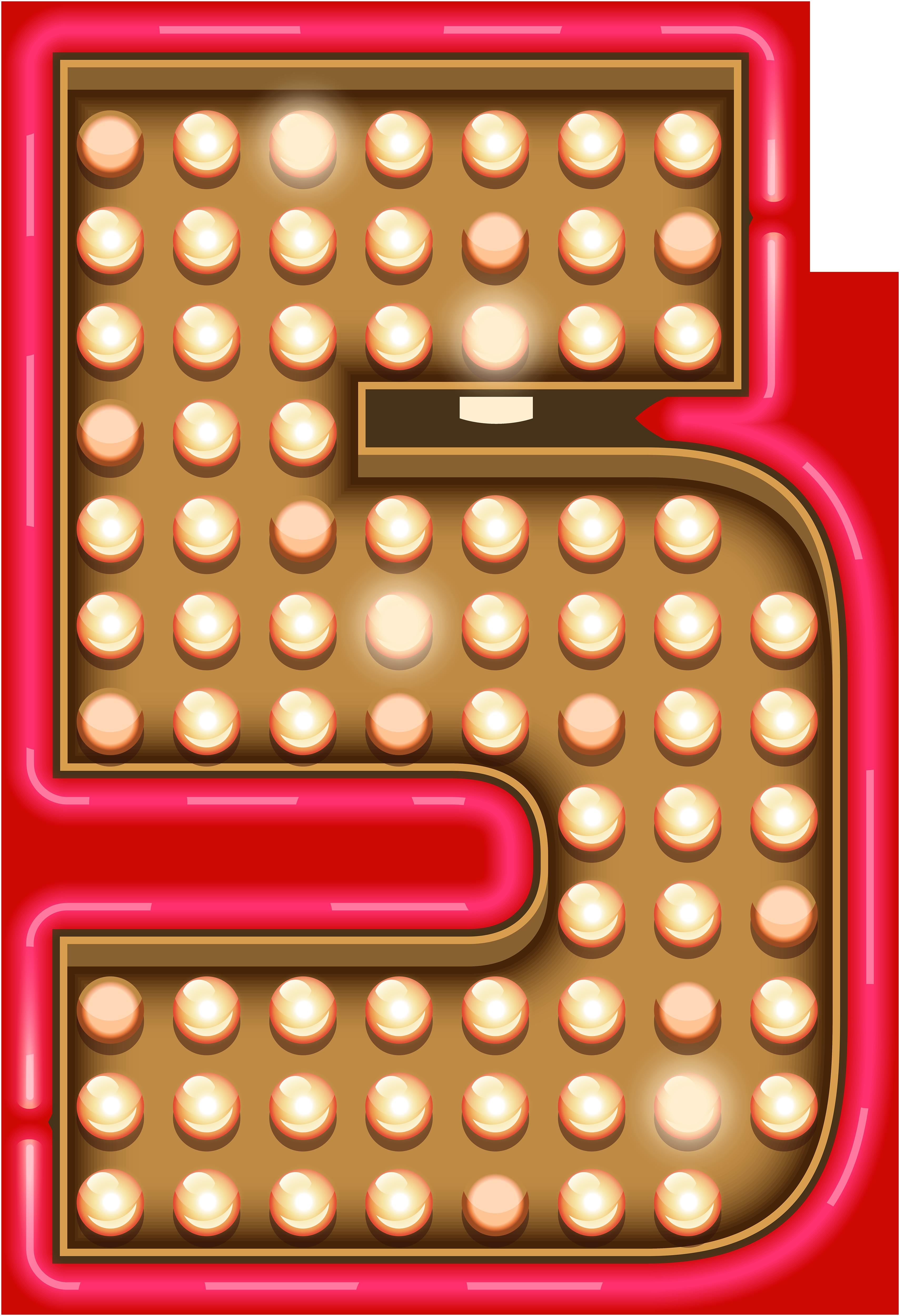 Number Five Neon Lights Transparent PNG Clip Art Image.