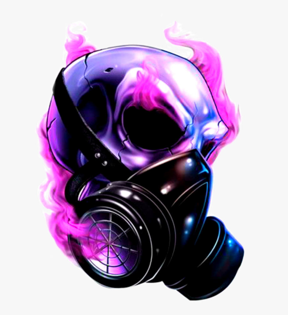 Download Skull Pink Purple Neon Smoke Gasmask Dark.