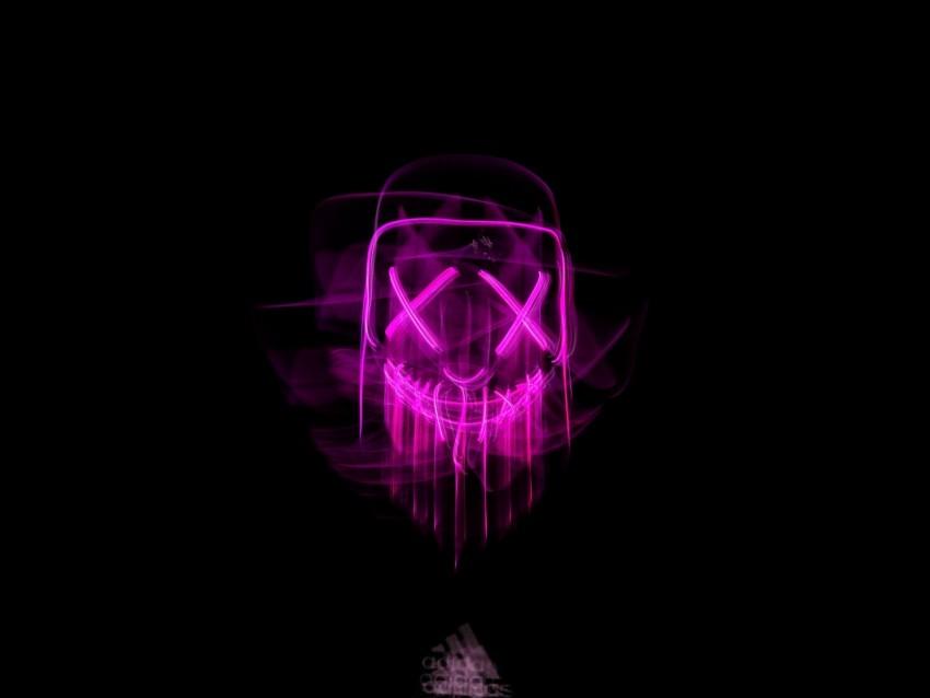 mask, neon, blur, glow, darkness background.