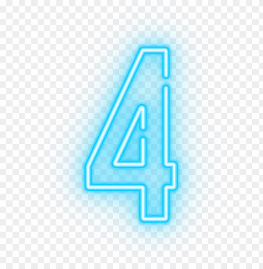 Download neon number four transparent clipart png photo.