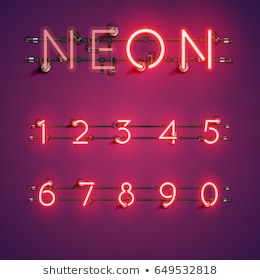 Neon Numbers Images, Stock Photos & Vectors.