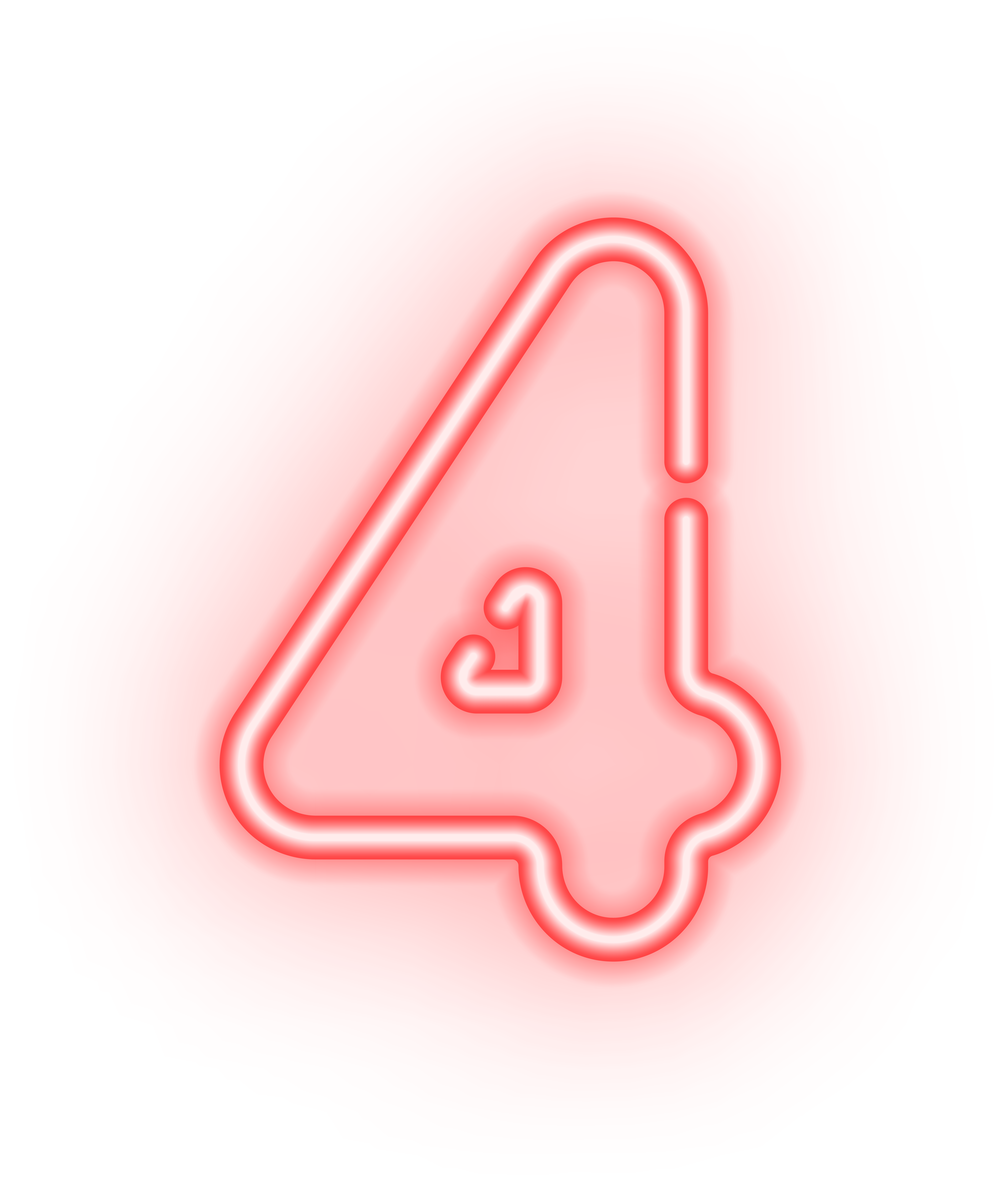 Number Four Neon Transparent PNG Image.