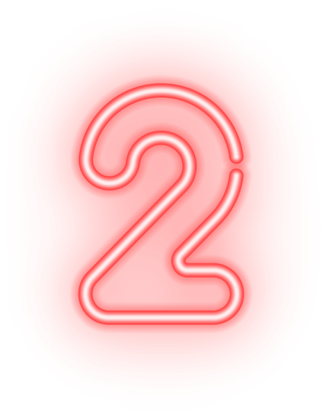 Number Two Neon Transparent PNG Image.