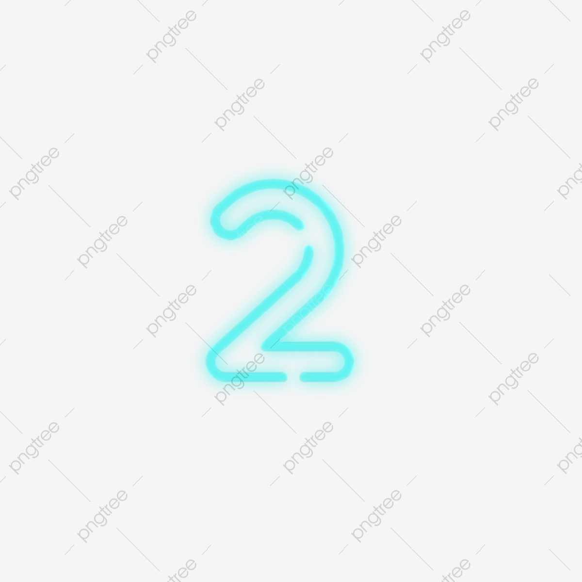 Commercial Neon Number 2, Commercial, Creative, Digital PNG.