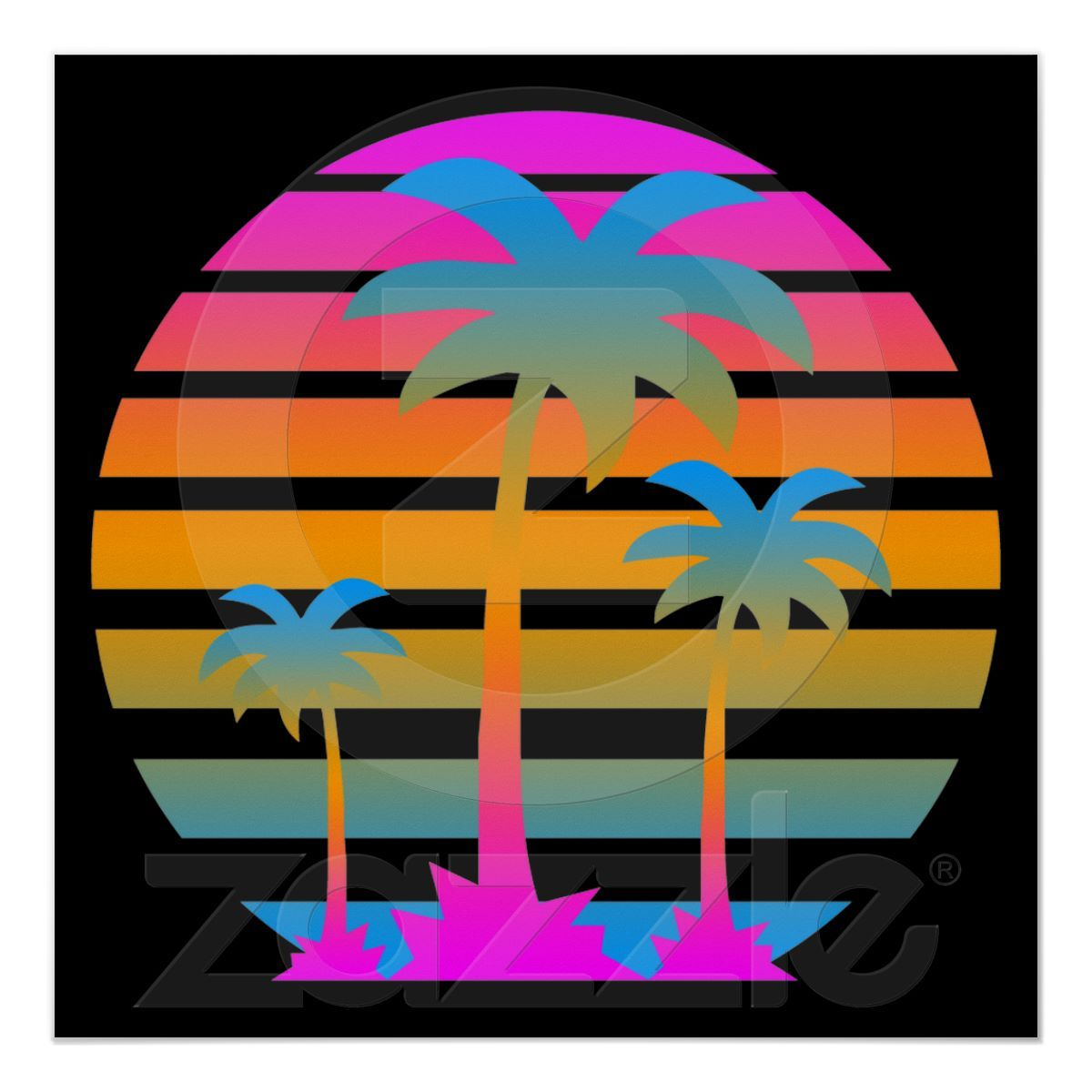 Corey Tiger 80s Retro Vintage Palm Trees Sunset Poster.