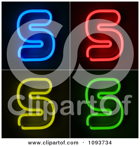 Clipart Blue Red Yellow And Green Neon Capital H Letters.