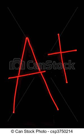 Stock Photo of A+ Grade on Neon Red Sign.