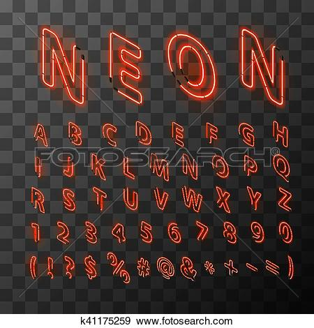 Clip Art of Bright neon red letters in isometric view k41175259.