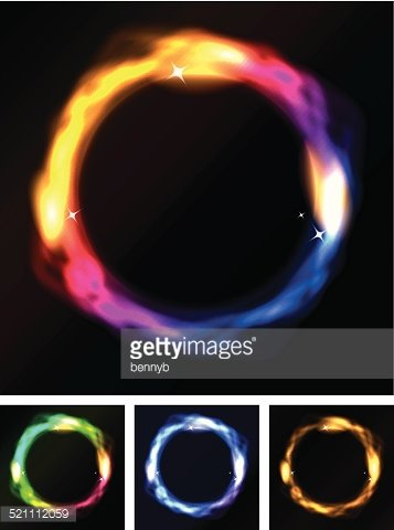 Abstract Neon Circles Or Galaxy Ring Clipart Image.
