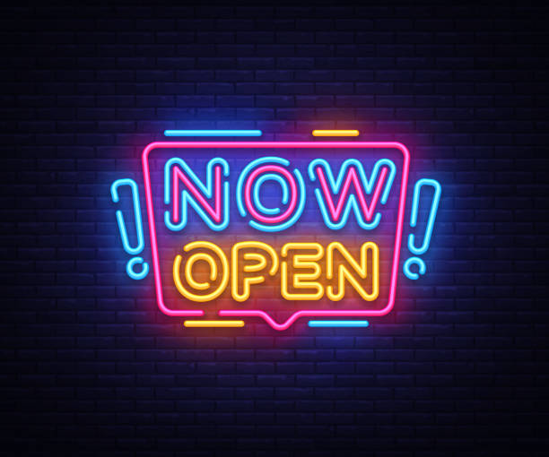 Best Open Neon Sign Illustrations, Royalty.