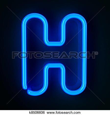 Stock Illustration of Neon Sign Letter H k8506606.