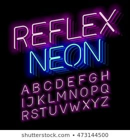 Reflex Neon font vector illustration in 2019.