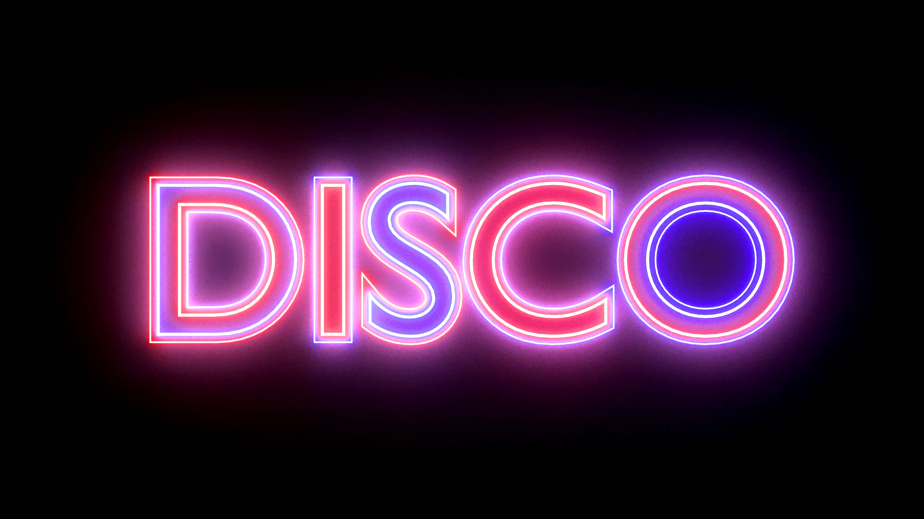 Disco neon sign lights logo text glowing multicolor 4K Motion Background.