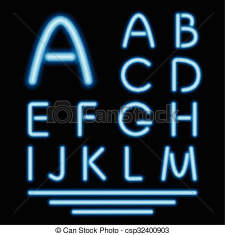 Vector Clipart of Blue Neon Tube Letters. Glowing Font. Vector.