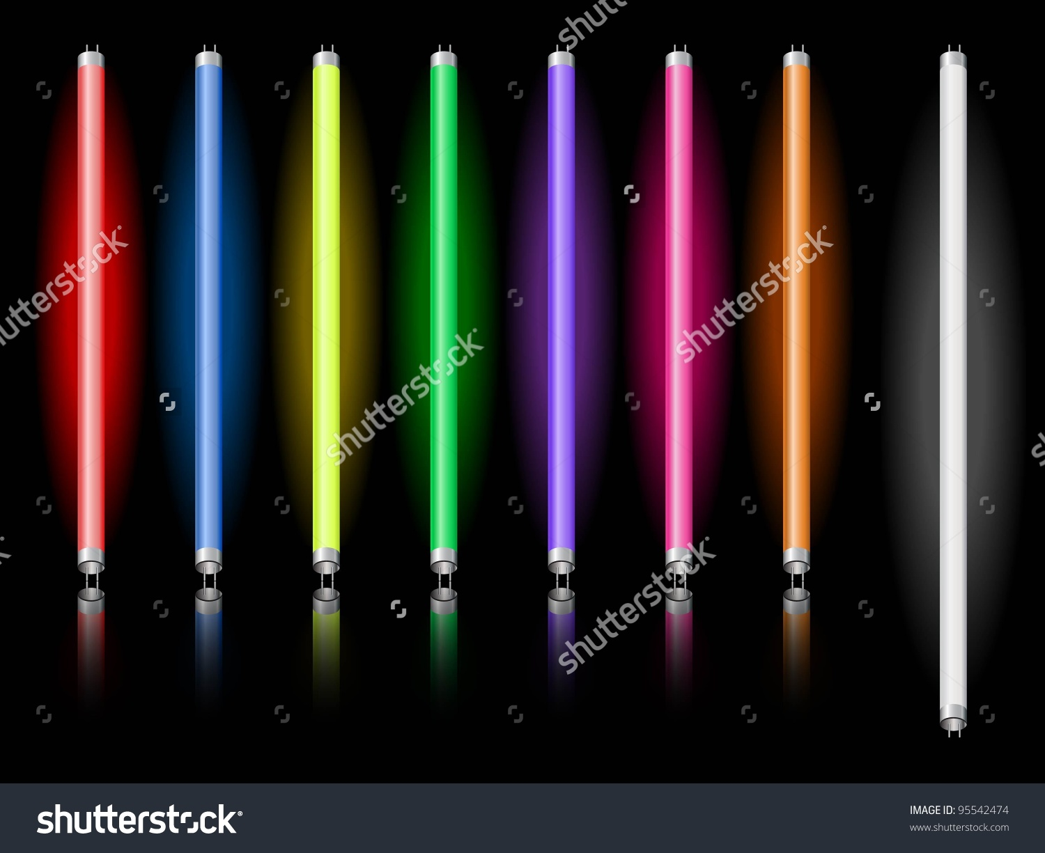 Lightning Neon Tubes Different Colors Stock Vector 95542474.