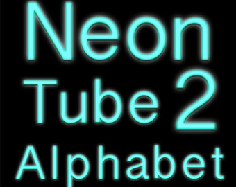 Blue Digital letters clipart like Neon tube by GostraiDesigns.