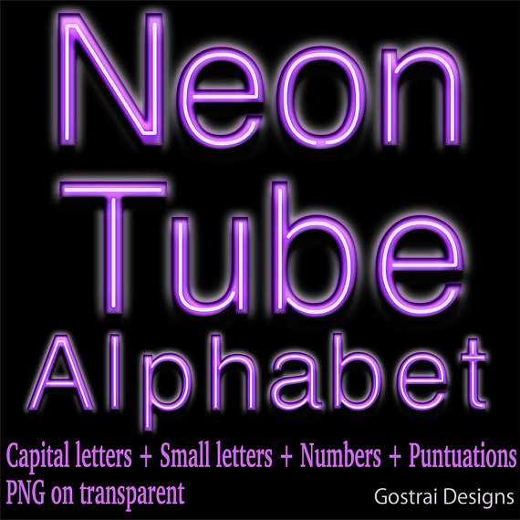 Purple Neon tube digital letters clipart letters by GostraiDesigns.