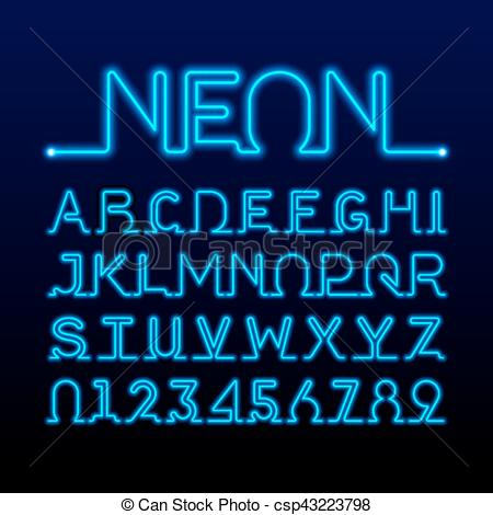 EPS Vectors of One thin line neon tube font.