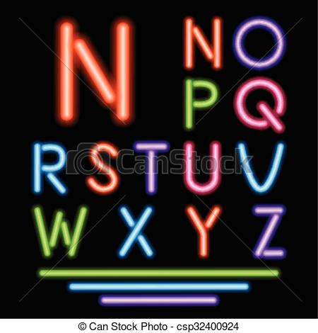Vector Illustration of Neon Tube Letters. Multicolor Glowing Font.