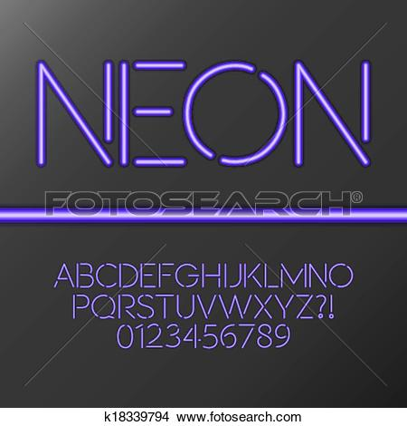 Clipart of Purple Neon Tube Alphabet and Numbe k18339794.