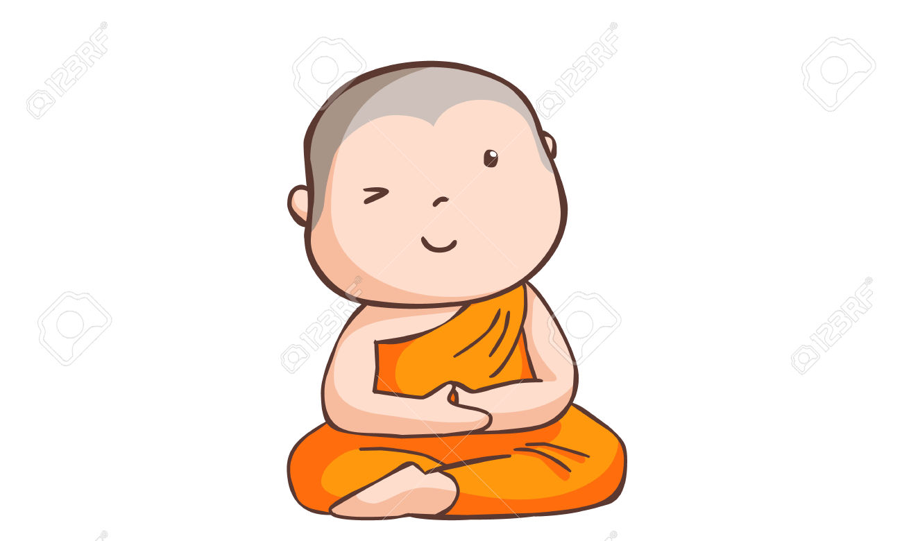 Happy Little Neophyte Take Meditate Vector Illustration Royalty.