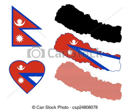 Vectors Illustration of map of Nepal and different types of.