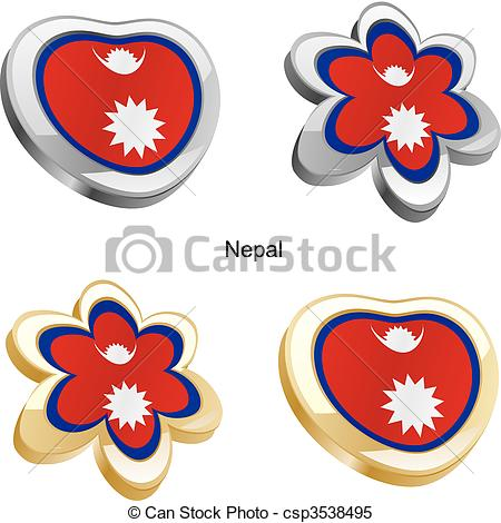 Clipart Vector of nepal flag in heart and flower.