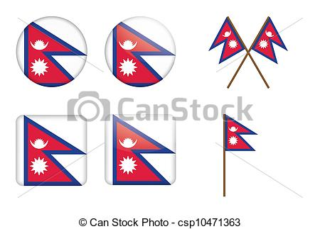 Clip Art Vector of badges with flag of Nepal.