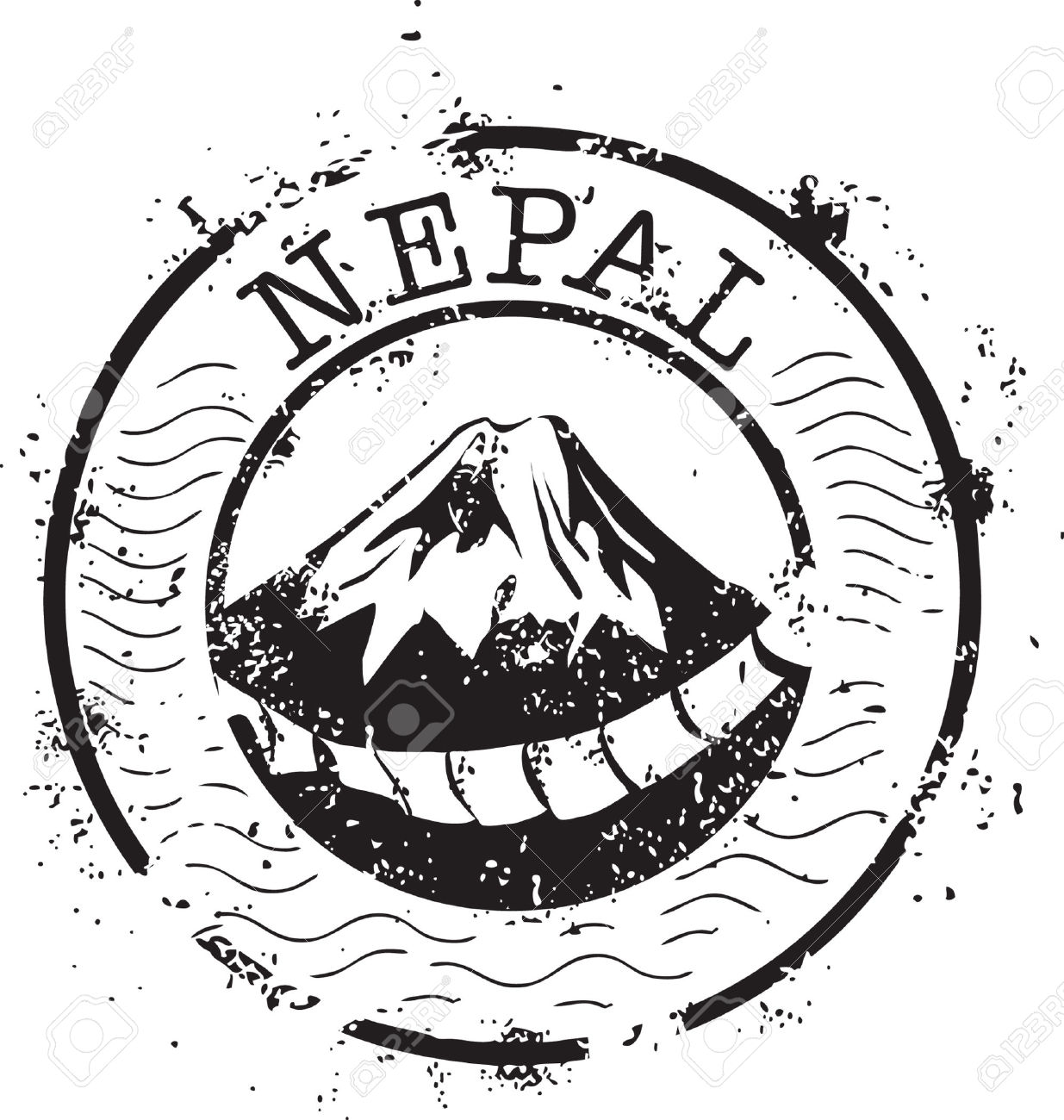 Nepal black and white clipart.