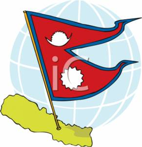 Clipart Picture of the Flag of Nepal.