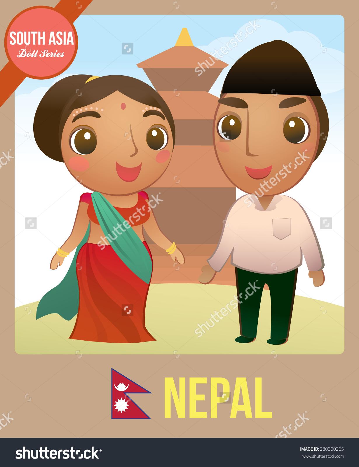 Cute Couple Doll Nepali Symbol Nepal Stock Vector 280300265.