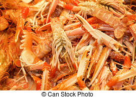 Stock Photographs of Nephrops norvegicus for sale in a fish.