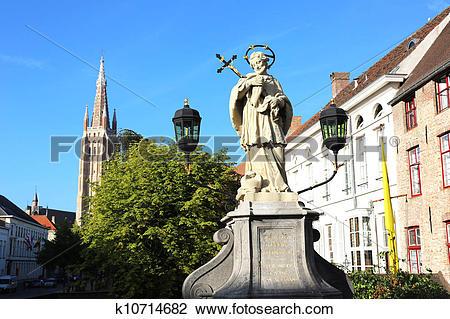 Stock Photo of John of Nepomuk Monument Bruges k10714682.
