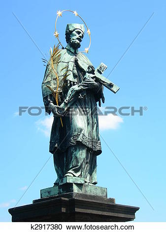 Stock Photography of Statue of St John of Nepomuk on Charles.